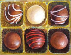 """""""Six Pack"""" 8x10 - Oil - painting of six truffle candies by Terry Romero Paul."""