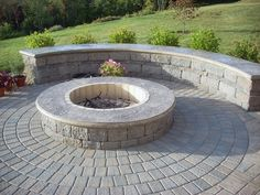 Block Fire Pit, Stamped Concrete Cap Fire Pit Aztlan Outdoor Living Highland, NY