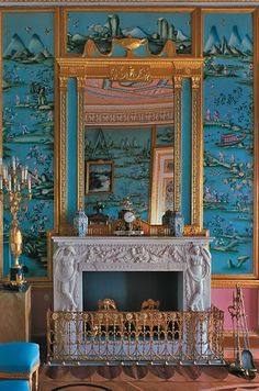 The Chinese Blue Drawing Room of the Grand Duke Paul (son of Catherine the Great) in the CATHERINE PALACE created  in 1783 by Scottish architect Charles Cameron, St Petersburg. Russia.