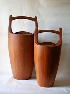 Dansk IHQ Staved Teak Wood Ice Buckets. Jens Quistgaard.