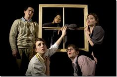 """Peter Durkin, Mouzam Makkar, Andy Junk, Maggie McCally, Mallory Nees in Grey Ghost Theatre's """"Melancholy Play: A Comtemporary Farce"""" by Sara..."""