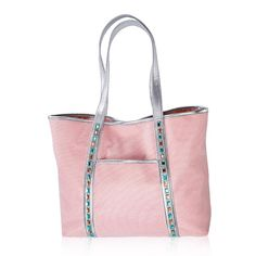 "The perfect touch of dazzle! A large pink nylon tote with white mesh overlay and metallic silver leather-like straps, piping and base. FEATURES• 13""H x 18"" L x 4 1/2 D• Fully lined• Magnetic snap closure• Faux-aquamarine and faux-amber accents along silver strap on front panel• Slip pocket on outside front panel• One zip and two slip pockets insideMATERIALS• PolyesterCARE• Wipe clean with a dry cloth.Made in China"