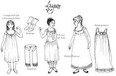 The Oregon Regency Society ~ Northwest Chapter: Undressing the Regency Lady. Very helpful! Jane Austen, Regency Dress, Regency Era, Historical Costume, Historical Clothing, Historical Dress, Gn, Civil War Dress, Architecture Tattoo