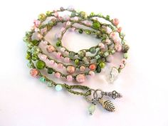 "Crochet wrap bracelet, boho necklace, beaded, ""petals and leaves"", olive, pink, bohemian jewelry, crochet jewelry, boho wedding"