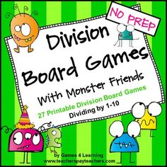 Monster cuties - Division Board Games with Monster Friends - 27 printable division games! $