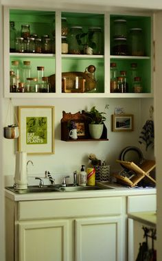 White paints cabinets, green inside