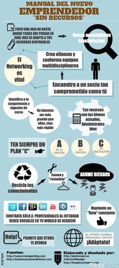 Manual del nuevo emprendedor sin recursos #infografia #empreder #infographic
