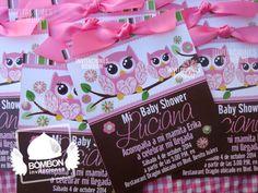 #buho #owl #invitation #invitacion #card #pink #rosa #spring #baby #shower #babyshower #Invitaciones #Bombon #InvitacionesBOMBON