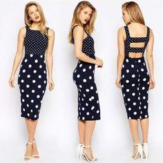 Vestido elegante sin mangas y destapado en la espalda Diseño con puntos Negro