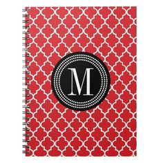 Chic Red Moroccan Lattice Personalized Spiral Custom Monogram Notebook