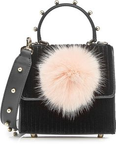 Shop for Les Petits Joueurs Velvet Shoulder Bag with Leather and Fox Fur on ShopStyle.