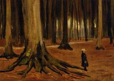 allymande:    Vincent van Gogh - Girl in the woods (1882)    The stillness in this - that perfect not-silence of the woods, the hush, the feeling of peace - god, there's no sky in this, none of his frenetic, sometimes-desperate sometimes-joyful brushwork. I can feel the trees, hear them standing testament to years.    And I can't look at this without crying, which I feel like I say every time I post a Van Gogh but it doesn't stop being true.    via http://jennathings.tumblr.com/