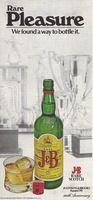 J & B Scotch, Rare Pleasure 1974 Ad Picture