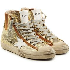 Golden Goose V Star 1 High Top Sneakers ($345) ❤ liked on Polyvore featuring shoes, sneakers, gold, golden goose sneakers, leather sneakers, hi tops, distressed leather shoes and high top trainers