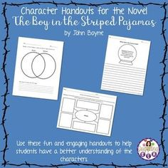 This is a bundle of handouts that all have to do with the characters in the novel The Boy in the Striped Pajamas by John Boyne. Items Included:✤ Character Chart - Students describe characters in the book. This chart can be used to review the characters before a unit test. #youngadultliterature #middleschoolenglish