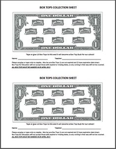 Gallery For > Box Tops Collection Sheet