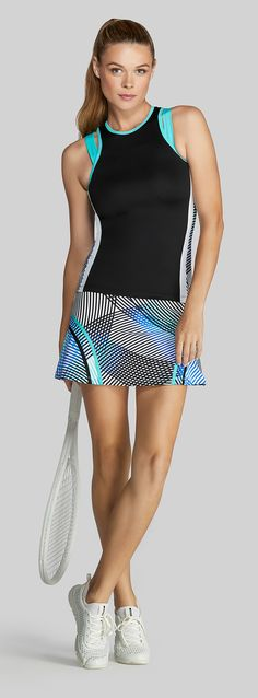 The Tail Velocity collection includes performance tennis skirts, tanks, and tennis outfits in ocean mist green, white, black, and velocity print fabrics perfect for your tennis season. Shop more Tail activewear at MidwestSports.com.