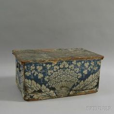 Wallpapered Document Box, probably New England, second quarter century, the rectangular box with blue and white wallpapered exterior de. Blue And White Wallpaper, Wall Boxes, Antique Boxes, Primitive Furniture, Painted Boxes, Vintage Box, Hand Painted Furniture, Covered Boxes, Painted Furniture