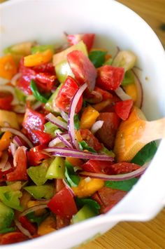 Rustic heirloom tomato salad-wonderful dish, a rainbow of stunningly beautiful colors. Nice