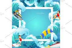Set of water extreme sports backgrounds, isolated design elements for summer vacation activity fun concept, cartoon wave surfing, sea beach vector illustration, active lifestyle adventure. Travel Icons