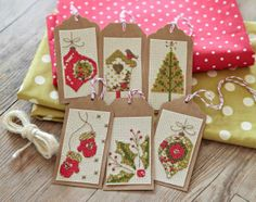 #crossstitch christmas tags in lime and coral red. Featured in @XStitchmagazine issue 247