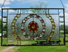 """""""Game of Marbles"""" Stained Glass Window Panel 24 5 8'' x 14 1 2'' 