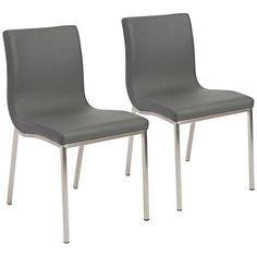 Scott Steel And Gray Leatherette Dining Chair Set Of 2