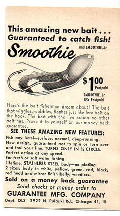 1949 Vintage Ad Smoothie & Smoothie Jr Fishing Lures Guarantee Mfg Chicago,IL #MagazineAd