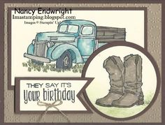 This is a masculine birthday card that I made this morning. I just love the old truck. It reminds me of an old Studebaker truck my dad...