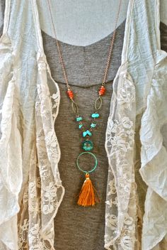 Bohemian beaded turquoise tassel necklace. Tiedupmemories