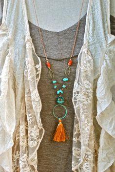 Bohemian beaded turquoise tassel necklace. Tiedupmemories