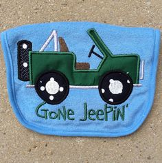 Baby Bib - GoNe JeEpIn - with applique Jeep on Etsy, $11.00