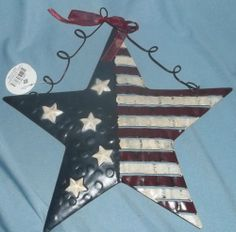 New with Tag Metal Americana Star American Flag Patriotic Wall Stars Stripes | eBay