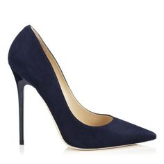 JIMMY CHOO Anouk Navy Suede Pointy Toe Pumps. #jimmychoo #shoes #s