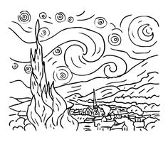 To print «coloring-van-gogh-starry-night», click on the printer icon at the right of this page