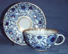 LOMONOSOV CHINA TEACUP & SAUCER WINDING TWIG BLUE/WHITE