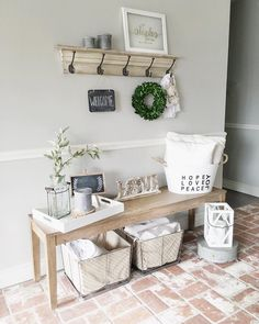 """Katie on Instagram: """"I think entryways are my favorite space to decorate. So many ways to mix it up and make people feel welcome the second they step through the door! @joyfully.rooted asked me to share my entryway for #destressyournest ! Also sharing this favorite space of mine for the wintery/white/decor hashies #restorethedecor2016 #decorenthusiast #myfavoritehouseview #resolutionrestyle #thedesigntwins #winterdecorland #winterizemyhome ❤️"""""""