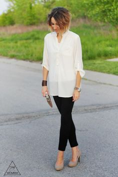 White blouse, black pants and nude heels. A classic and cute outfit that will be perfect for your next date night.   Date Night Fashion