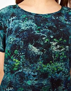 Lulu & Co Silk Tee in Palm Print
