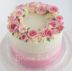 Birthday Cake Roses, Elegant Birthday Cakes, Beautiful Birthday Cakes, Beautiful Cakes, Creative Cake Decorating, Cake Decorating Designs, Creative Cakes, Cake Designs, Bolo Floral