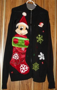 Men's Ugly Christmas Sweater Embellished Mickey Mouse Size 2X - Wilke Rodriguez Now $25.87