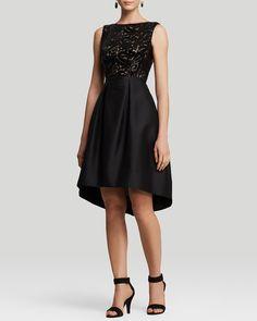 ML Monique Lhuillier Dress - Sleeveless Sequin Illusion Neckline & Flared Faille Skirt | Bloomingdale's