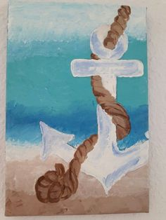 Acrylic painting beginner Anchor :) #beachcanvaspainting