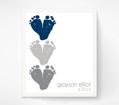 Navy Gray Nursery Wall Art - Baby Footprint Hearts - Personalized Baby Boy Nursery Decor - Baby Wall Art Print Green, Navy, Charcoal Grey by PitterPatterPrint on Etsy