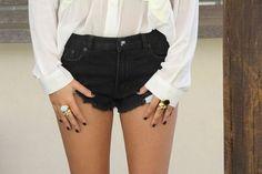 black fringed shorts