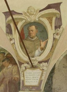 Firenze - Chiostro di Ognissanti - Jacopo Ligozzi - Personalità Francescane:  Giovanni Gaetano Orsini - affresco - 1600 circa