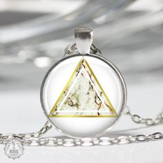 Marble Triangle Pendant Necklace   Triangle Necklace Marble Necklace Boho Jewelry Marble Jewelry Geometric Necklace Gold Modern Aesthetic by AgeOfAkuarius on Etsy