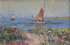 Artist: Jan Pawlowski  Title: Nantucket Sailing  Media: oil on canvas Size: 7.5 X 11.5 inches Framed Size: 13 X 17 inches Estimate: $500-$1,000