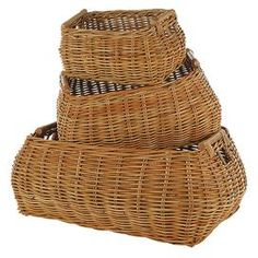 Eco-friendly rattan basket.  Product: BasketConstruction Material: RattanColor: NaturalFeatures:  CompostibleEco-friendly Dimensions:   Small: 7 H x 12 W x 8.5 D  Medium: 9 H x 17 W x 12 D  Large: 11 H x 24 W x 16 D