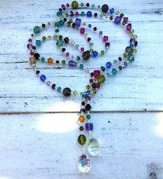 SWAROVSKI COLORFUL LONG LARIAT – bellaPerlina Jewelry